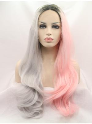 Wavy Half Grey Half Pink Hair Cheapest Synthetic Lace Wigs
