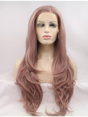 Good Synthetic Soft Peach Wavy 26 Inches Lace Front Wigs