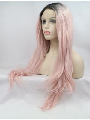 Wavy Pink With Dark Roots Best Synthetic Lace Wig