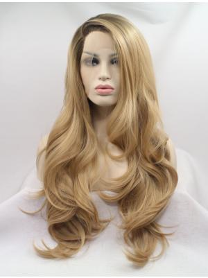 Ideal Synthetic Blonde Wavy 27 Inches Lace Front Wig