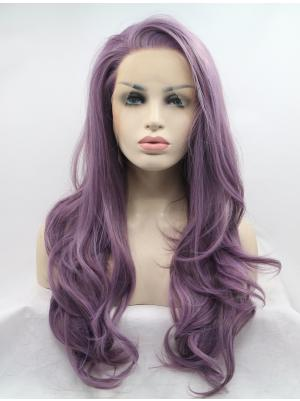 Flexibility Synthetic Cool Lilac Wavy 26 Inches Front Lace Wigs
