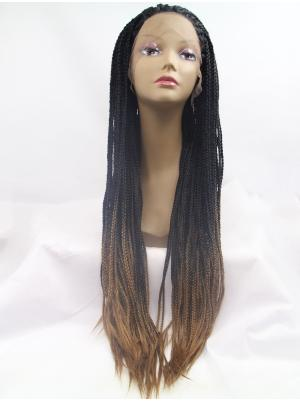 Curly Black/Brown Ombre Beautiful Synthetic Lace Wigs Front