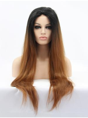 Straight Ombre Brown To Blonde No-fuss Synthetic Lace Wig Cap