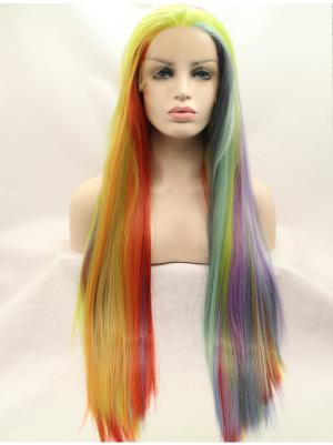 Straight Rainbow Comfortable Synthetic Lace Wig Buy