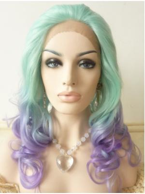21 Inches Candy Mint And Candy Purple Modern Long Curly Buy Lace Wig