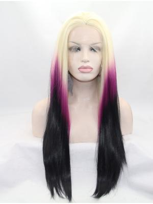 Blonde To Fuchsia To Black Straight Long No-fuss Wigs Lace Front