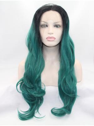 Online Synthetic Capri With Dark Roots Wavy 28 Inches Glueless Lace Wigs