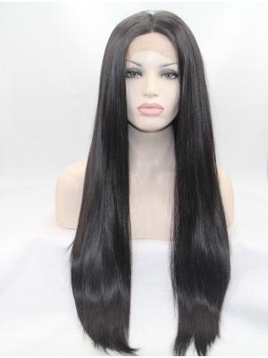 Fashion Synthetic Black Straight 27 Inches Lace Frontal