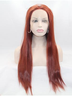 Straight Red Sleek Synthetic Lace Top Wigs