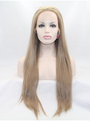 28 Inches Brown Amazing Long Straight Front Lace Wig