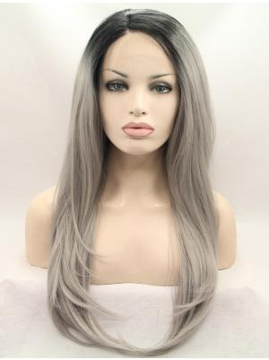 Ombre Silver Grey With Black Roots Straight Long Exquisite Lacewig