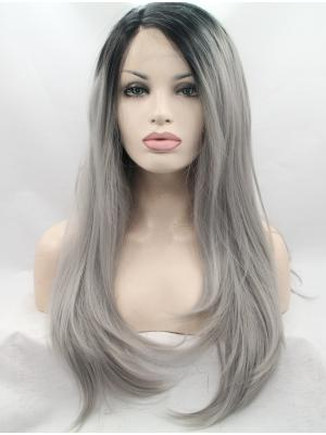 26 Inches Ombre Black To Silver Top Long Straight Buy Lace Wig Online