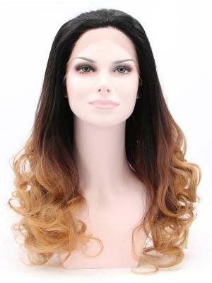 Curly Black To Brown Top Synthetic Lace Wigs Whole Sale