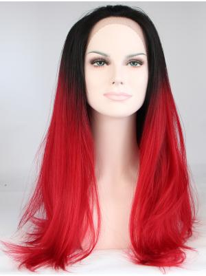 Straight Black To True Red Gorgeous Synthetic Lace Wig Sale