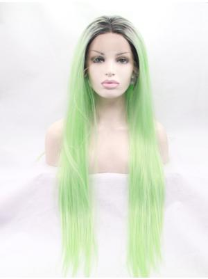 Mint Green With Black Roots Straight Long Discount Quality Lace Wigs