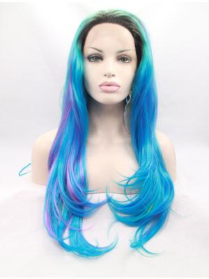 Bright Blue And Purple With Brown Roots Wavy Long Fabulous Wig Lace