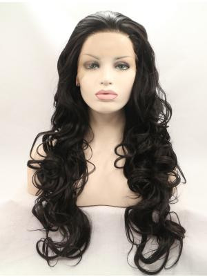 Incredible Synthetic Black Curly 28 Inches Lace Front Wigs