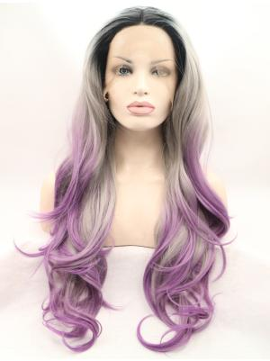 Curly Ombre Purple And Sliver Cheap Synthetic Lace Wigs Front