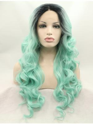 Curly Mint With Dark Roots Top Synthetic Lace Wig