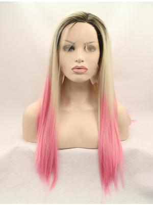 Convenient Synthetic Ombre Black To Blonde To Pink Straight 22 Inches Lace Front Wig