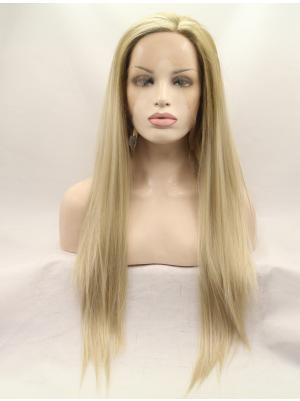 Sleek Synthetic Blonde Straight 26 Inches Front Lace Wigs