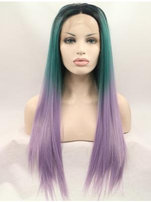 26 Inches Purple Green With Dark Roots Amazing Long Straight Best Lace Wigs