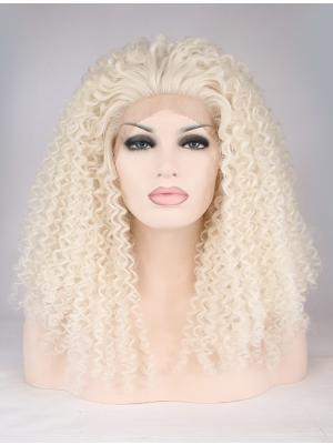 Natural Synthetic Platinum Blonde Kinky 18 Inches Lace Frontal