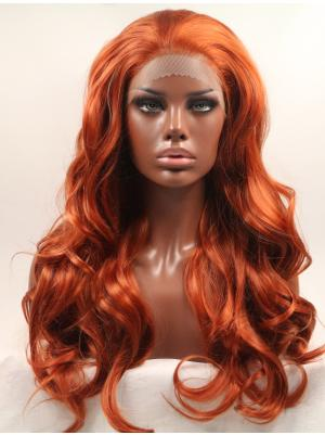 Cheap Synthetic Deep Copper Red Curly 20 Inches Front Lace Wig