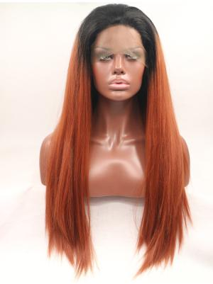 Red Hair With Dark Roots Straight Long Affordable Stylish Lace Wigs