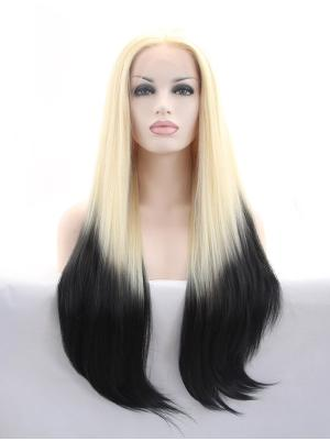 Blonde And Black Straight Long Perfect Lacewig