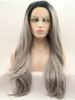 Straight Ombre Grey With Dark Roots Popular Synthetic Lace Wigs Buy