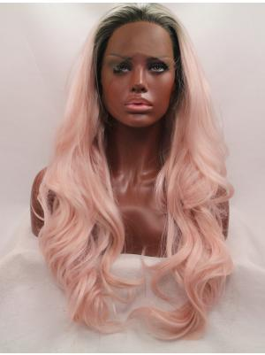 26 Inches Ombre Pink With Dark Roots Great Long Wavy Buy Lace Wigs
