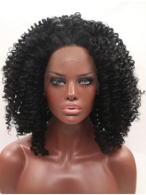Kinky Black Designed Synthetic Lace Wigs Front
