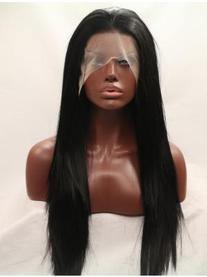 Beautiful Synthetic Black Straight 27 Inches Lace Frontal Wig