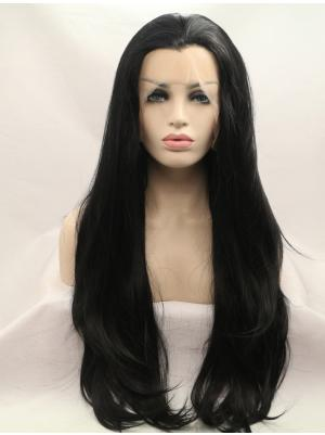Black Wavy Long Convenient No Glue Lace Wigs
