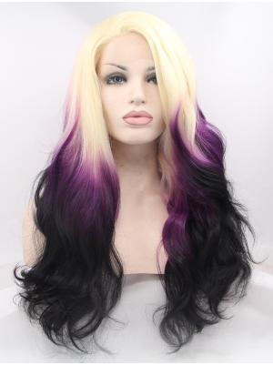 Blonde Purple Black Ombre Curly Long Style No Glue Lace Wigs