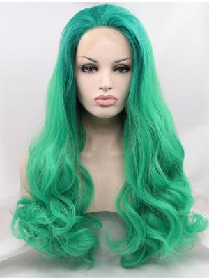 Curly Ombre Green Soft Synthetic Lacefront Wig