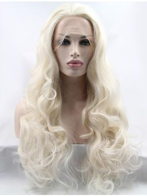 28 Inches White Blonde Cheapest Long Curly Cheap Lace Wig