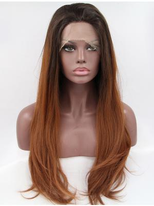Wavy Black And Brown Ombre Trendy Synthetic Lacefront Wig