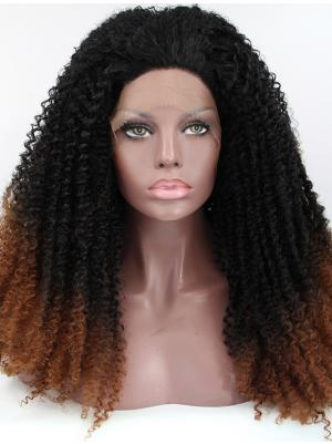 Kinky Black And Brown Modern Synthetic Lace Wigs On Sale