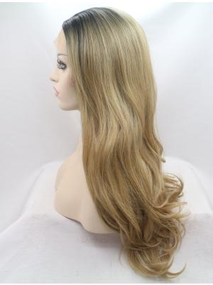 Wavy Brown With Dark Roots Soft Synthetic Lace Wig Buy