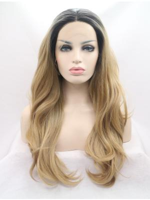 25 Inches Light Golden Brown With Dark Roots Online Long Wavy Buy Lace Wig