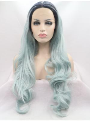 28 Inches Pastel Green With Dark Roots Style Long Wavy Cheap Lace Wig