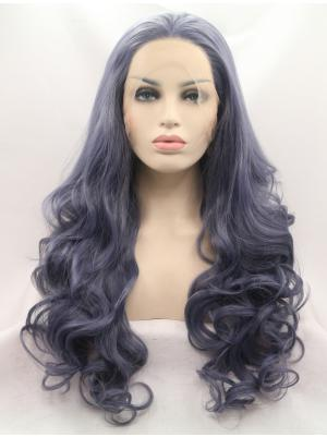 Iron Gray Curly Long Top Wig Lace Fabric