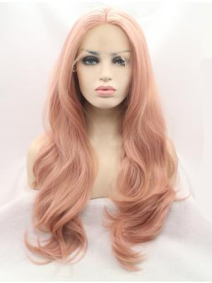 Wavy Peach Pink Sleek Synthetic Lace Wigs On Sale