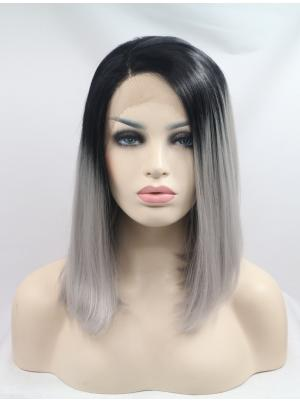 Exquisite Synthetic Dark Roots With Grey Straight 13 Inches Lace Cap Wig