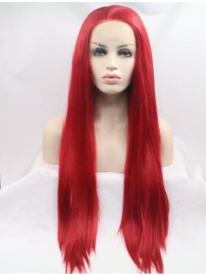 32 Inches Red Suitable Long Straight Best Lace Wig