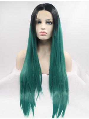 Straight Dark Green With Dark Roots Trendy Synthetic Lace Wig Buy