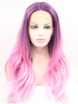 Wavy Purple Ombre Pink High Quality Synthetic Lace Top Wigs