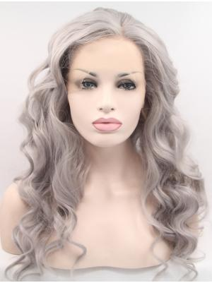 Comfortable Synthetic Grey Mixed Purple Curly 22 Inches Hair Lace Wig